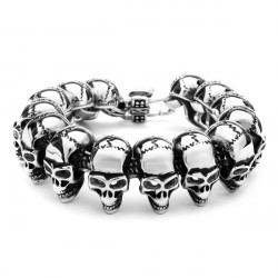 Punk Gothic 316L Stainless Steel Skull Bracelet Mens Jewelry