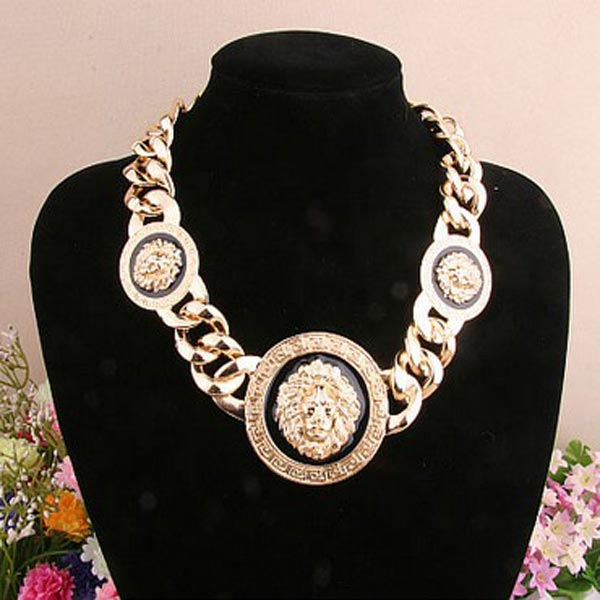 Punk Oil Drop Tre Lion Head Halsband Golden Alloy Damsmycken