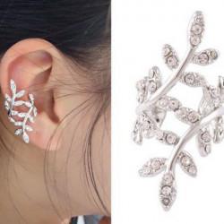 Punk Rhinestone Leaf Earring Clip Ear Cuff Silver Forgyldt