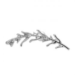 Punk Silver Rhinestone Leaf Alloy Ear Stud Earrings For Women
