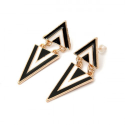 Punk Vintage Enamel Geometriska Triangel Dangle Stud Örhängen för Kvinnor