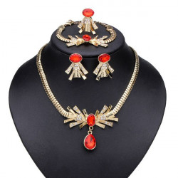 Red Crystal Rhinestone Örhängen Ring Armband Halsband Smycken Set