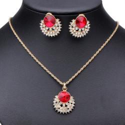 Red Crystal Rhinestone Blomst Ring Øreringe Halskæde Smykker Sæt