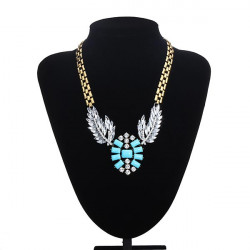 Harz Flügel Feder Strass Opulente Halskette Chunky Metallkette