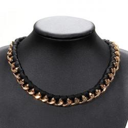 Retro Svart Läder Guldlegering Chain Chokerhalsband