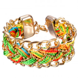 Retro Handmade Multilayer geflochtenen Seil Armband Gold überzogen