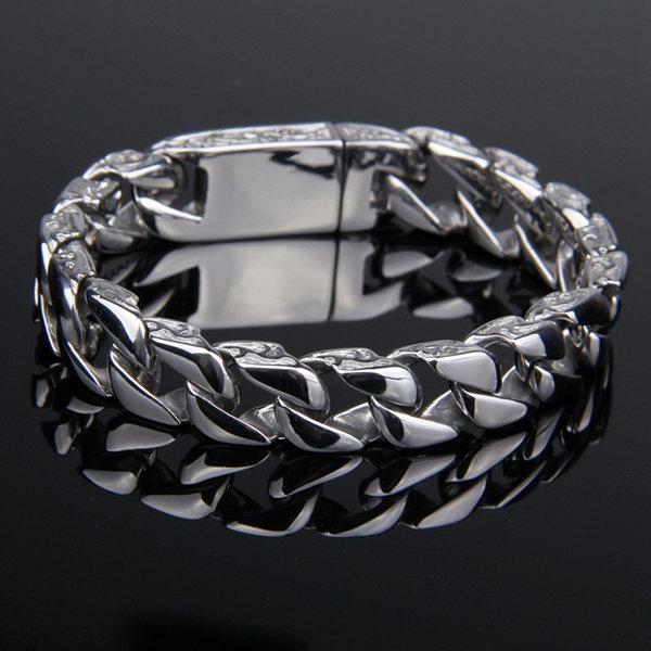 Retro Pattern Mens Stainless Steel Bracelet Silver Tone Chain Fine Jewelry