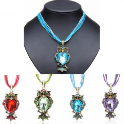 Retro Rhinestone Crystal Owl Pendant Necklace Ribbon Chain