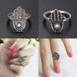 Retro Silber Legierung Hand von Fatima Hamsa Ring Frauen Schmuck