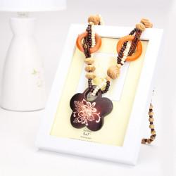 Retro Holzperlen geometirc Tier Anhänger Halskette langkettige