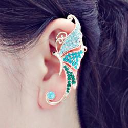 Rhinestone Crystal Butterfly Clip On Ear Cuff 16K Forgyldt