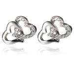 Rhinestone Crystal Double Heart Ear Stud Earrings Silver Plated Women Jewelry