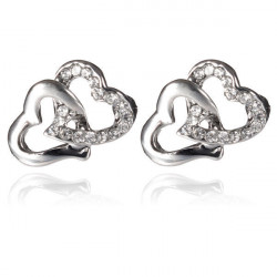 Rhinestone Crystal Double Heart Ear Stud Earrings Silver Plated