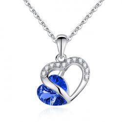 Rhinestone Krystal Hjerte Vedhæng Halskæde for Kvinder