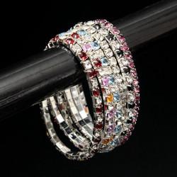 Rhinestone Crystal Wedding Brude Stretch Armbånd Bangle for Kvinder