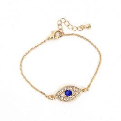 Rhinestone Hamsa Fatima Hand Blå Evil Eye Charm Bracelet Unisex