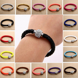 Rhinestone PU Leather Cuff Bracelet Magnetic Buckle Wrap Wristband