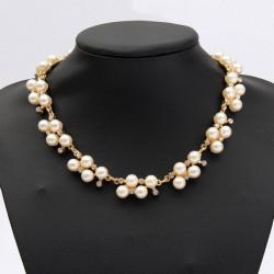 Rhinestone Perlen Kragenchoker Statement Halskette für Frauen