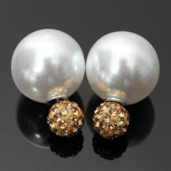 Rhinestone Pearl Double Sides Balls Ear Stud Earrings For Women