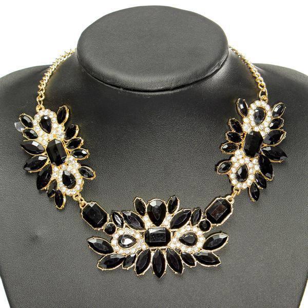 Rhinestone Resin Flower Choker Pendant Statement Necklace For Women Women Jewelry
