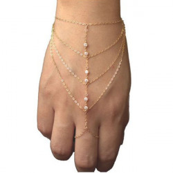 Rhinestone Tofs Kedja Hand Slave Ring Armband Guldpläterad
