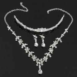 Rhinestone Wasser Tropfen Kronen Halsketten Ohrring Brautschmucksache Sätze