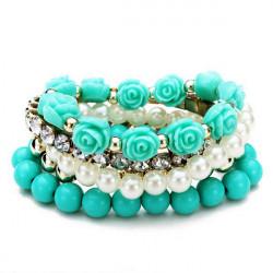 Rosen Blumen Kristall Perlen Korn elastische Multilayer Armband für Frauen