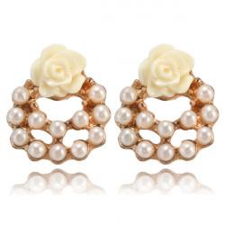 Rose Blomma Pärl Guldpläterade Ear Stud Örhängen för Kvinnor