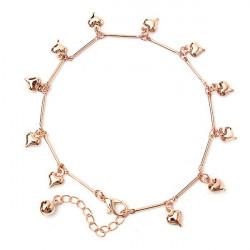 Ros Guld Älskar Hjärtan Bell Hänge Armband Anklet för Kvinnor