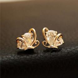 Rose Gold überzogenes Schmetterlings Kristallohrstecker Ohrclip
