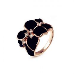 Rose Gold überzogener Kristall Schwarz weiße Emaille Blumen Ring für Frauen