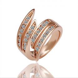 Rose Gold überzogener Kristall Finger Ring Legierungs Europäischen