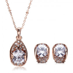 Rose Gold Plated Zircon Crystal Necklace Earrings Jewelry Set