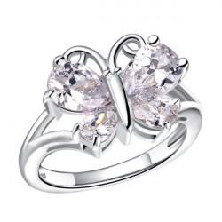 Rose Guld Platina Zircon Crystal Fjäril Ring för Kvinnor