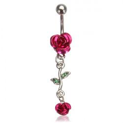 Rose Röd Blomma Rostfritt Stål Navel Ring Piercing