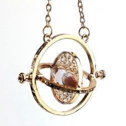 Rotierende Pink Sand Sanduhr hängende Halsketten Gold überzogen