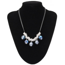 Round Crystal Beads Pendant Necklace Leather Rope Chain Necklace