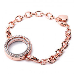 Round Rhinestone Magnetic Floating Charm Locket Open Glass Bracelet