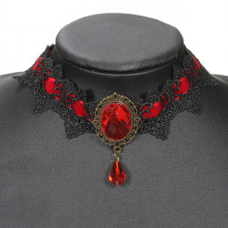 Sexy Punk Ladies Black Lace Gemstone Gothic Choker Jewelry Necklace