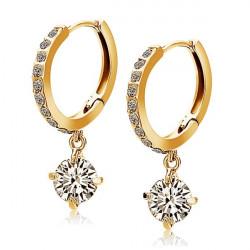 Glänzende Kristallrhinestone Tropfen Ohrring Goldsilber überzogene
