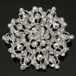 Silver Crystal Rhinestone Hollow Flower Wedding Broche Pin Damesmykker
