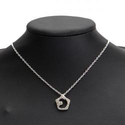 Silver Fuld Rhinestone Hollow Stjerne Måne Vedhæng Halskæde til Kvinder