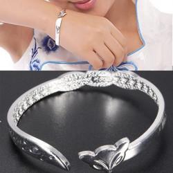 Silber Liebe Öffnungs SIE Fox Stulpe Armband Armband Frauen Schmucksachen