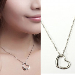 Silver Love Peach Heart Pendant Necklace For Women