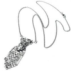 Silber Krawatte binden Shaped Pullover Kette Halskette für Frauen