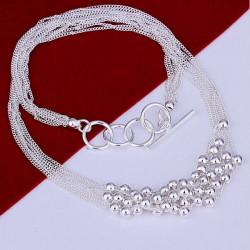 Silber überzogene Perlen Multilayer Verbindungs Ketten Anhänger Halskette