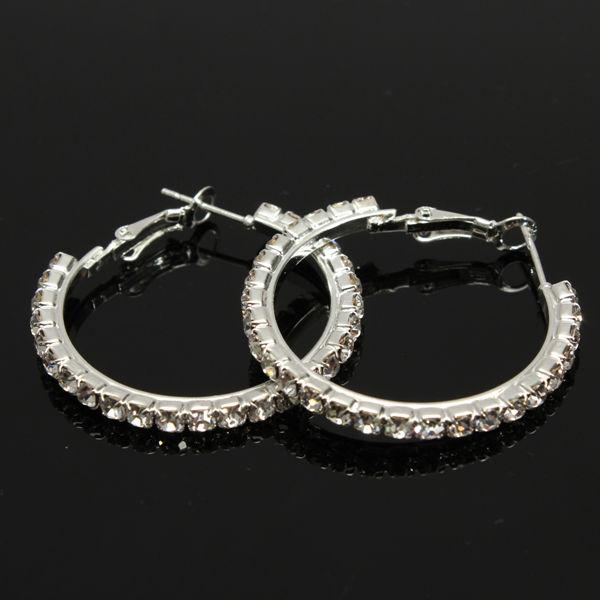 Silverpläterad Crystal Örhängen Rhinestone Ear Hoop Dingla för Kvinnor Damsmycken