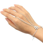 Silver Plated Crystal Flower Ring Bracelet Rhinestone Metal Chain Women Jewelry