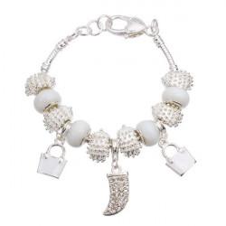 Silver Plated Crystal Glasperler Charm Bracelet til Kvinder