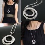 Versilbert Strass Double Circle lange hängende Halskette Damenschmuck